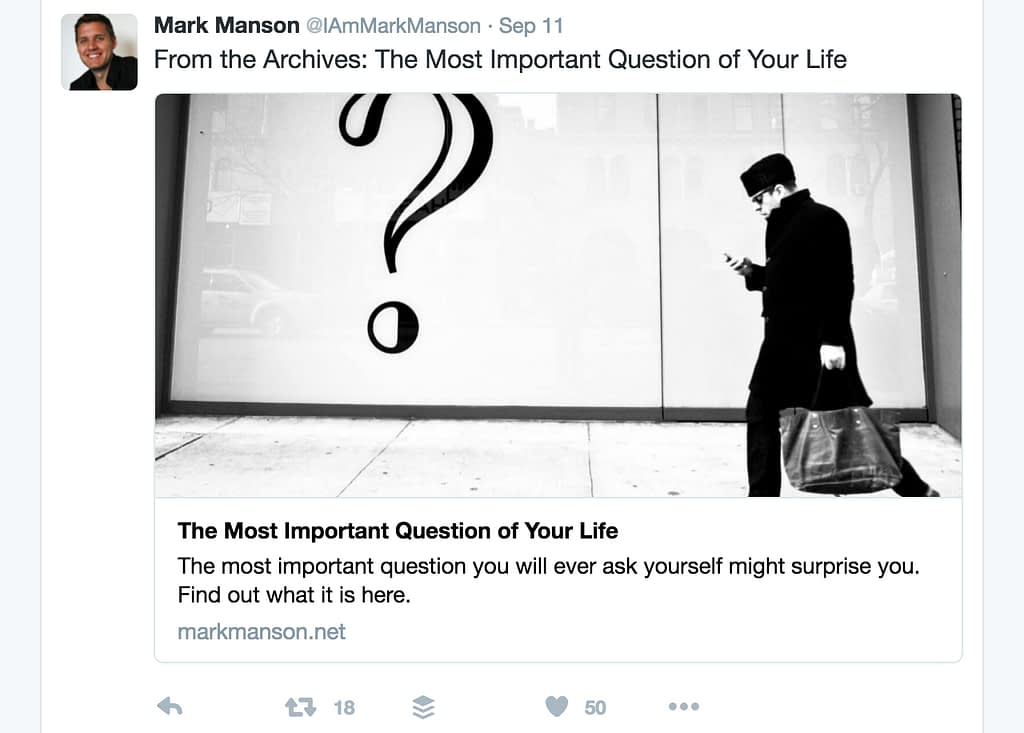 Mark Manson viral posts on social media - example