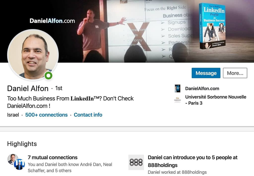 How to Use LinkedIn for Business Marketing Results - Daniel Alfon's LinkedIn Profile