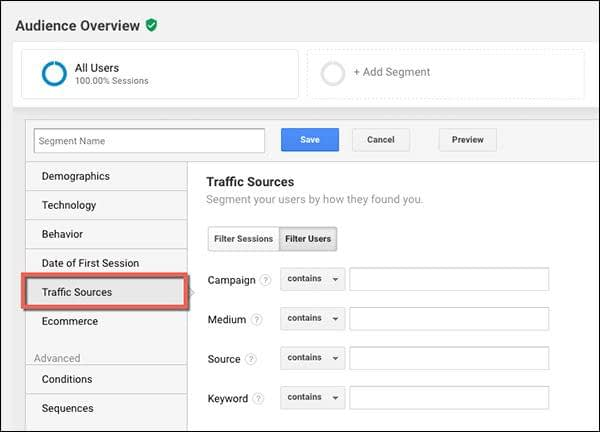 Traffic sources - use Segments in Google Analytics