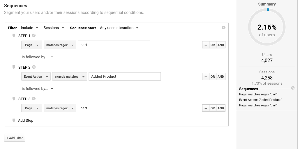 use Segments in Google Analytics for sequences