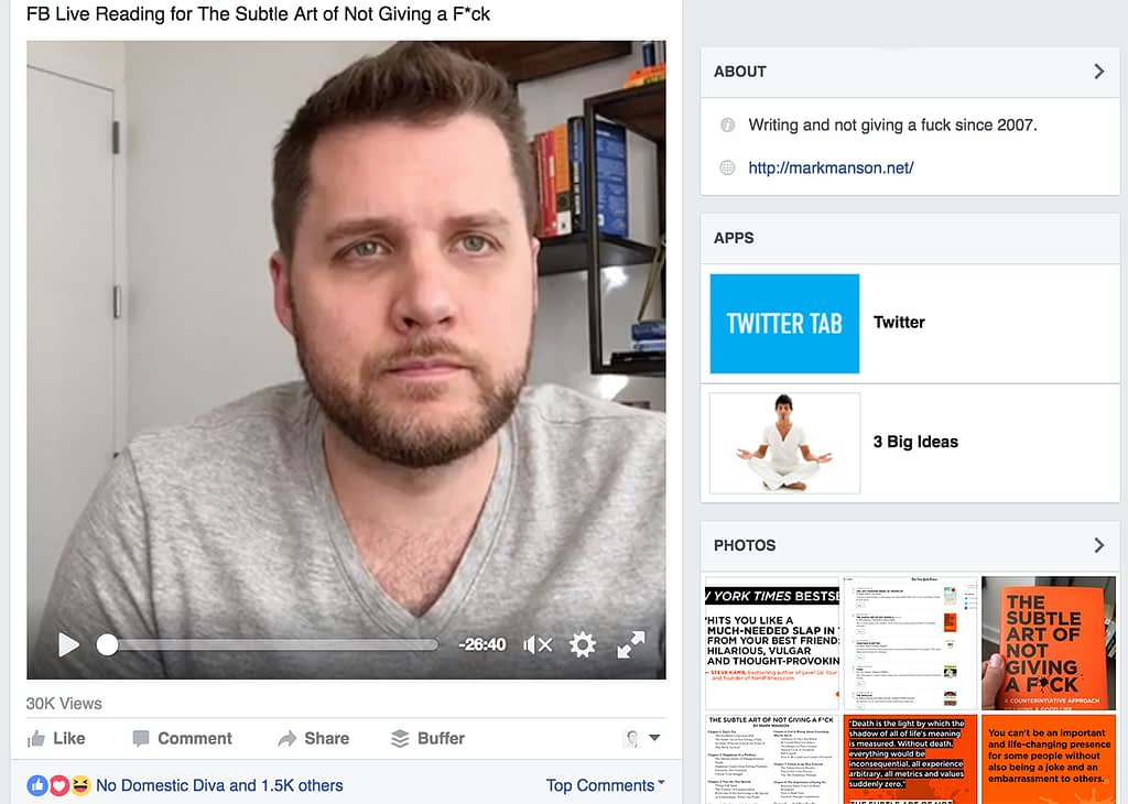 Mark Manson on Facebook live