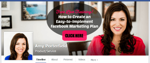 visual content marketing on amy porterfield facebook cover image