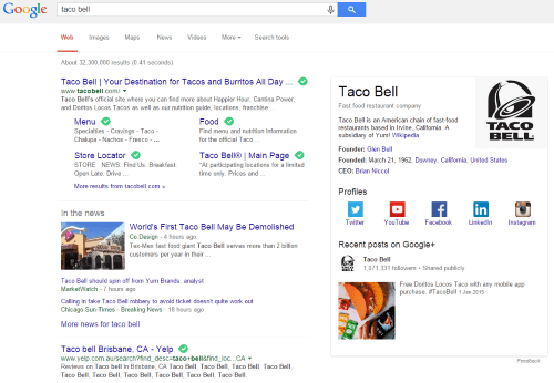 Taco Bell on Google