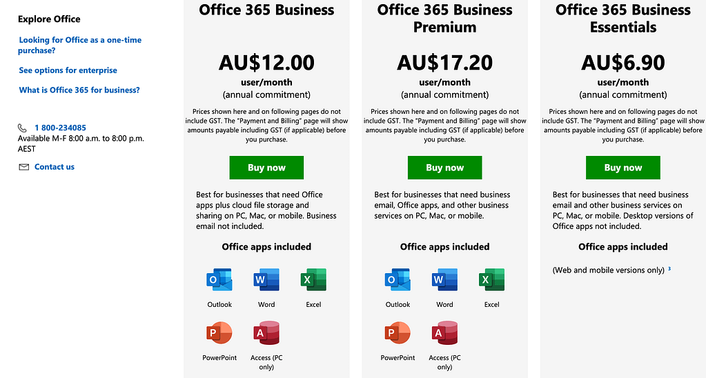 Microsoft Office example of product bundling