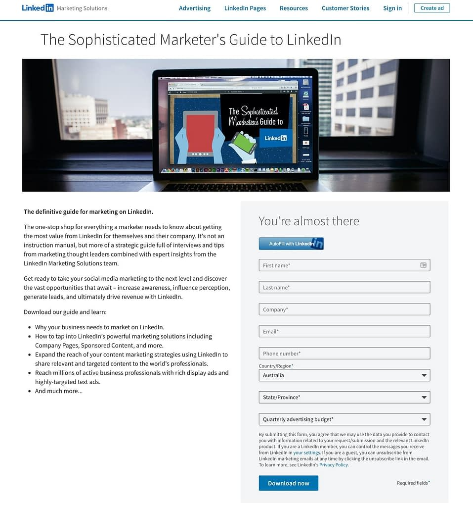 sophisticated marketers guide to LinkedIn landing page