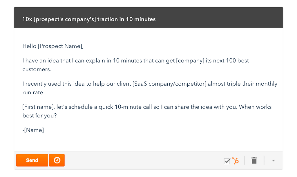 cold email template from HubSpot