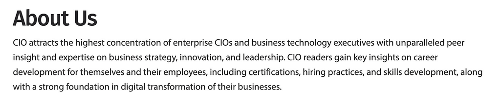 about us section from CIO