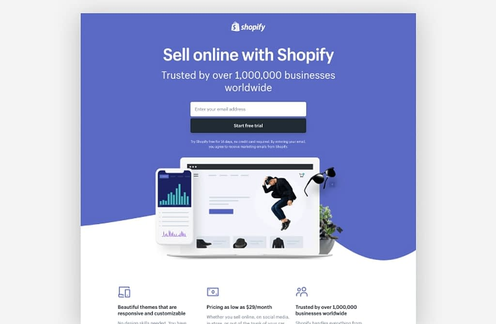 landing page examples - Shopify