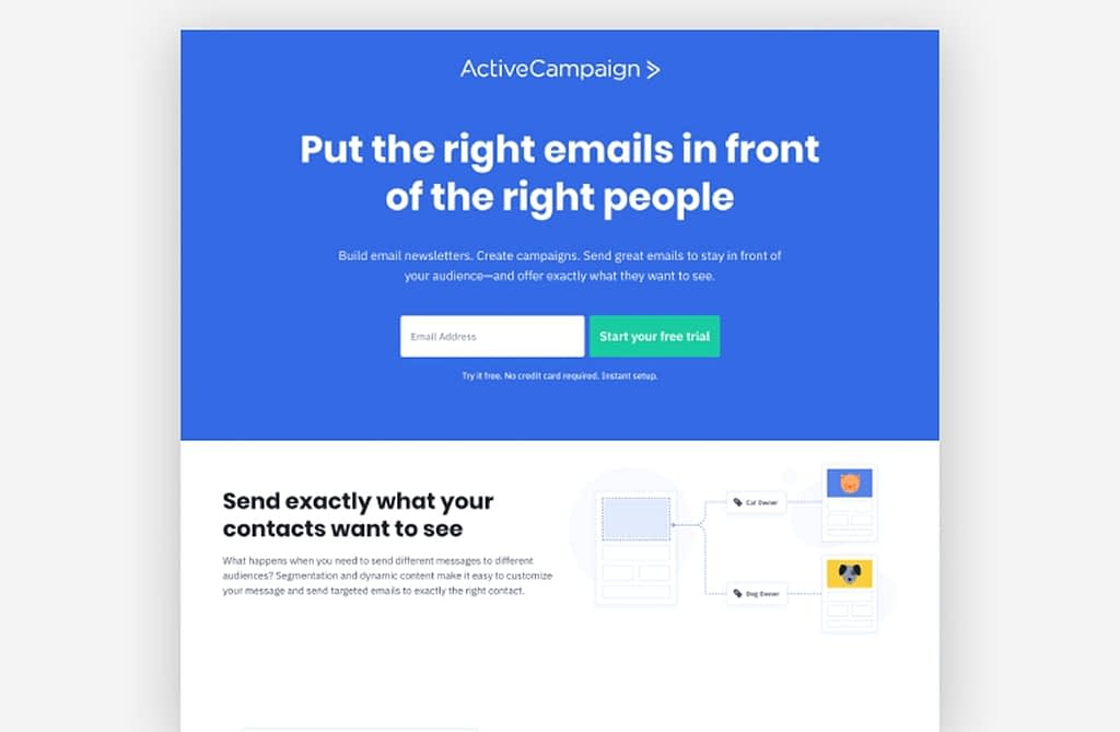 landing page examples - ActiveCampaign