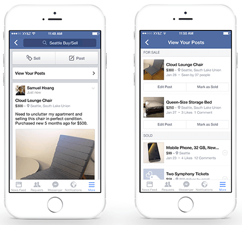 Facebook Sell option - visual content engagement