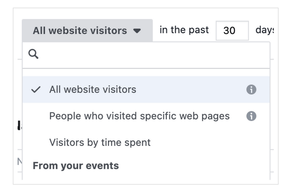 custom audience of people who visited your site