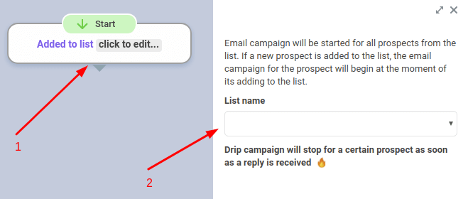 email drip campaign set up screenshot