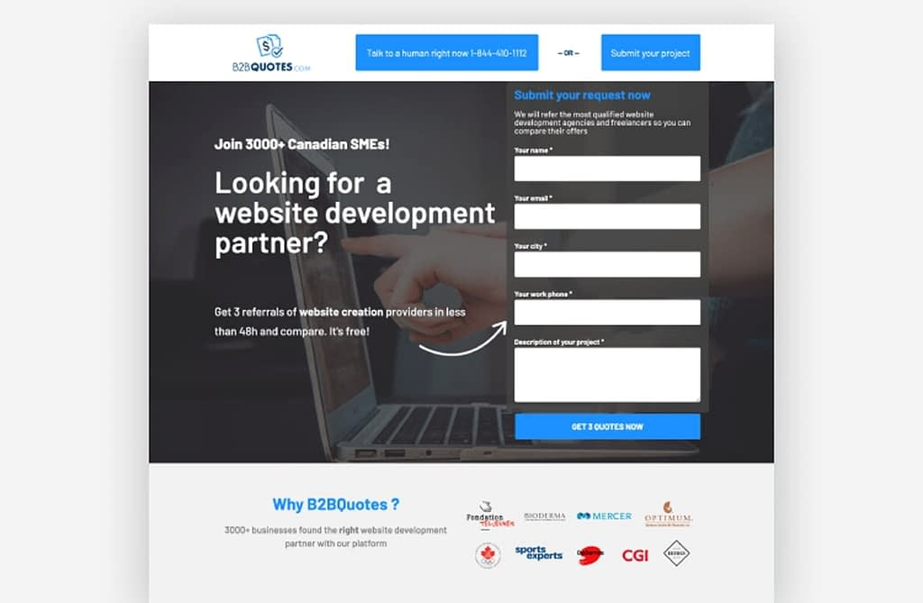 B2BQuotes landing page example