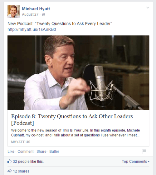 michael hyatt Facebook post