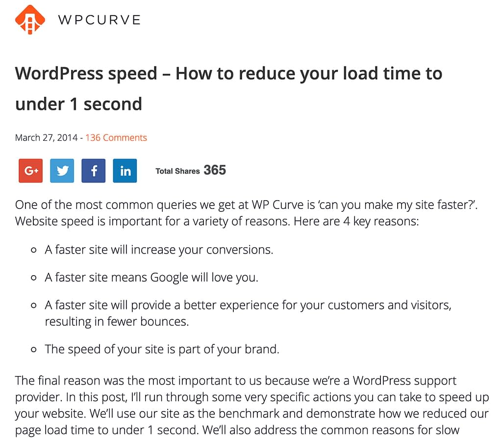 WordPress speed post on Wp Curve